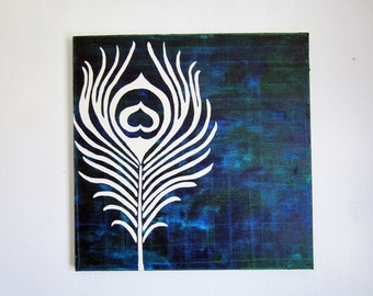 peacock feather art- original oil painting- 20x20 wall hanging- modern abstract artwork- navy blue green teal turquoise canvas art- gift-