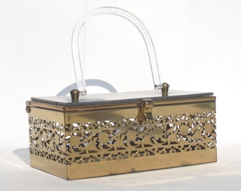 1950s lucite and brass box purse with filigree floral design - 1950s lucite purse - 1950s box purse - 1950s handbag