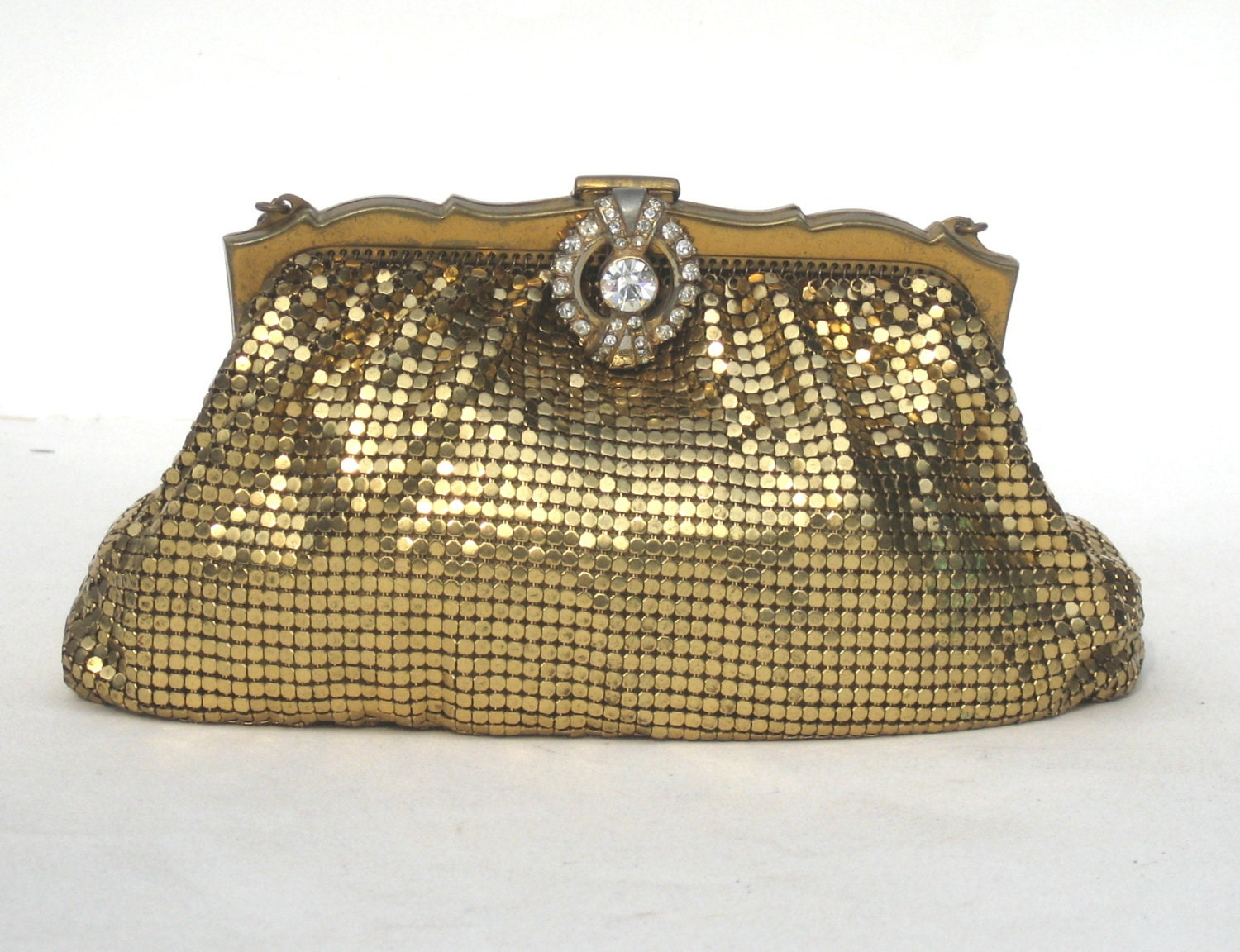 1940s whiting and davis gold mesh evening bag by