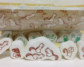 Squirrel Rubber Stamp Set (0987-003) Price depends on order volume. Buy other items together for BETTER price.