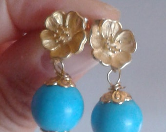 Luxury of rich gold and deep blue sea...Robin egg color turquoise drop earrings