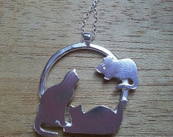 Cat Necklace Cat in a Hoop Pendant  Sterling Silver Mouse Necklace
