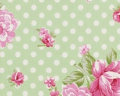 1 yard Tanya Whelan Rosey, roses and mums in green. modern pink floral on mint with polka dot