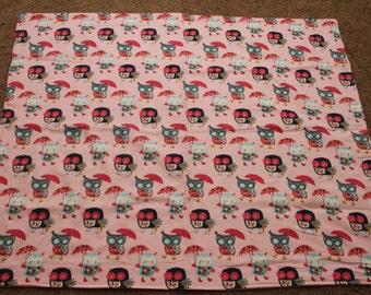 Pink Owl Cuddle Blanket
