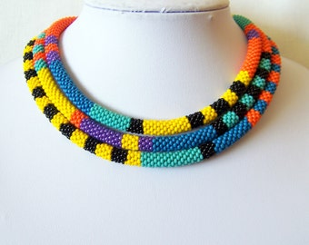 Extra Long Beaded Crochet Rope Necklace - Beadwork - Seed beads jewelry - African style necklace - Elegant - Geometric  - Colorful necklace