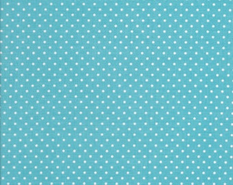 White Swiss dots on Aqua  by Riley Blake C670-20