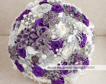 Brooch bouquet. Purple, Ivory and silver wedding brooch bouquet, Jeweled Bouquet. Quinceanera keepsake bouquet