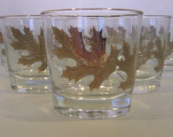 Libbey Glassware Gold and Green Frosted Oak Leaf Autumn - Rocks Lo Ball Old Fashioned Glasses - Set of 6