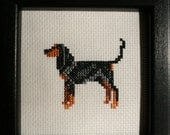 Coonhound Black and Tan Cross Stitched Full Body Dog.