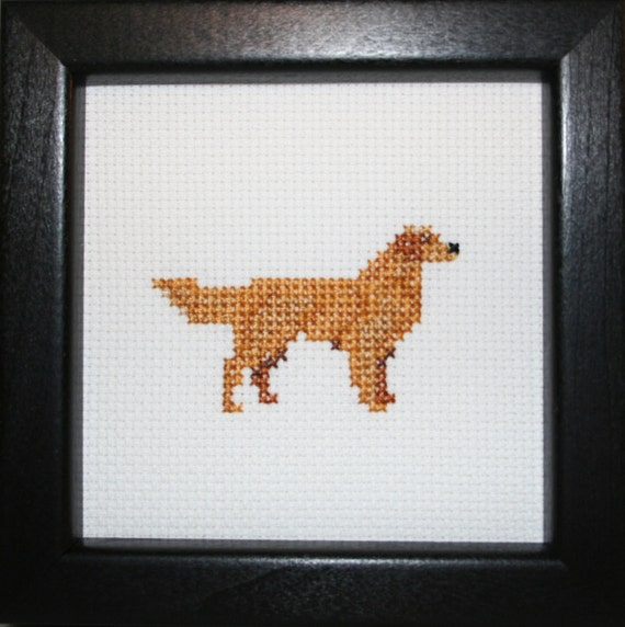 Golden Retriever Cross Stitched Full Body Dog.