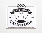 State of California Postcard, Screenprinted