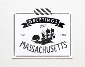 Screenprinted State of Massachusetts Postcard