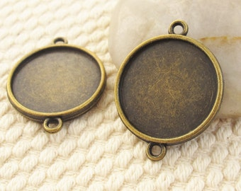 10 pcs Antique Bronze Brass Double Loops And Double Sided Round Resin Cameo Cabochon Base Settings Inner 20mm TG1485-28