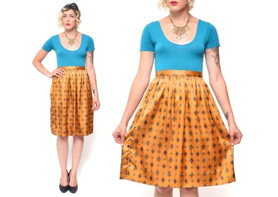 Vintage HIGH WAIST gold silk skirt // 90s boho Jack Winter size 12 pleated silky skirt //80s bohemian highwaisted knee length nolvelty print