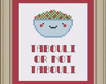 Tabouli or not tabouli: cute cross-stitch pattern