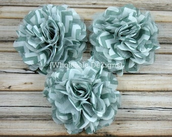 "Clearance Chevron Grey Satin and Tulle Ruffled Flower Puff - 3"" Gray"