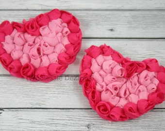 """Hot Pink and Pink Chiffon Rosette Hearts - 3.5"""" Valentines Heart (2)"""