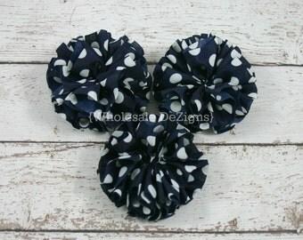 "Dark Navy Blue and White Polka Dot Ballerina Twirl flowers - 2.5"" Chiffon Flowers - 2.5 inches - DIY Headband Supplies 3 Rosettes"