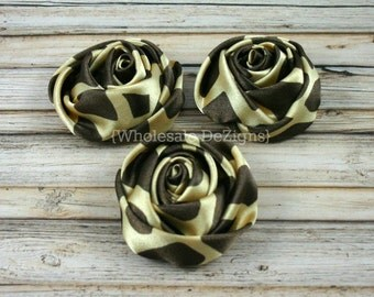 "Giraffe Print Satin Rolled Rosette Flowers - 2"" - Set of 3 - Dark Brown Animal Print - Brown and Gold DIY Headband Supplies"