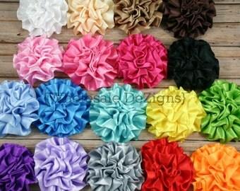 "Small Grab Bag Satin Ruffled Rolled Rosette Flowers 3""  - Bulk Wholesale Flowers"