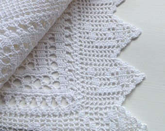 Vintage white cotton lace square from Greece