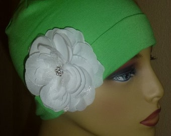 Lime Green Cotton Knit Beanie Chemo Hat with White Flowers,  Cotton Beanie Lime Green Chemo Hat with Flower