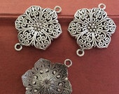 10pieces 40x28mm  Flower connector charm  - antique silver Charm Pendant