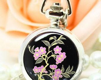 1pcs 25mmx25mm Flower pocket watch charms pendant SZ040