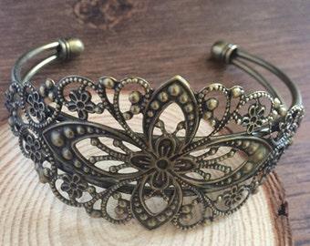 2pcs 35mmx65mm  Brass Brass Bracelet Blank Cameo Base