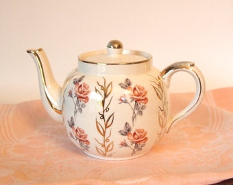 Vintage Teapot English Price Kensington Tea Pot with Pink Roses and Gold - England Circa 1960's Mid Century 4 Cup Size