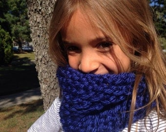 Hand Knit ROYAL BLUE Neckwarmer, Cowl. Free shipping in the US!