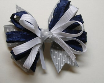 Navy Blue with Gray Grey Swiss Polka Dot Hair Bow Back to School Boutique Stacked layers