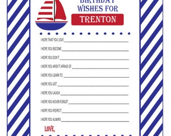 Nautical Boat Baby Shower or Sailboat Baby Birthday Wishes Anchors Away-PDF file