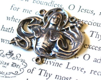 St. Joan of Arc Rosary Center - Vintage Replica - Sterling Silver - Made in the USA  (R53S)