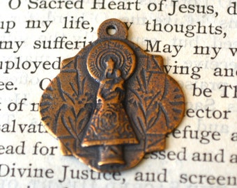 "Our Lady of Pilar Medal  - 1"" - Bronze or Sterling Silver - Religious Medal - Vintage Medal Replica - Bronze Medal (M101-765)"