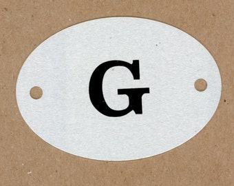 Letter G, Vintage Heavy Aluminum Metal Letter Plate, Round Large Locker Tag, Mixed Media Assemblage Art, Creative Reuse Jewelry, DIY Art