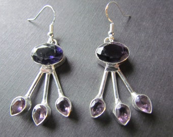 Amethyst Earrings - Sterling Silver Earrings - Purple Gemstones - Amethyst Jewelry - Dangle Earrings -