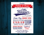 Printable Little Slugger Baby Shower Invitation