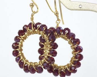 Ruby Red Crystal Hoop Earrings by KarenWhalenDesigns