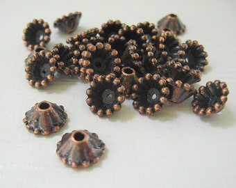 Copper Bead Caps (100) Antique Beaded Fits 6 - 10 mm Beads Antique Copper Plated Pewter Decorative Findings Wholesale CrazyCoolStuff