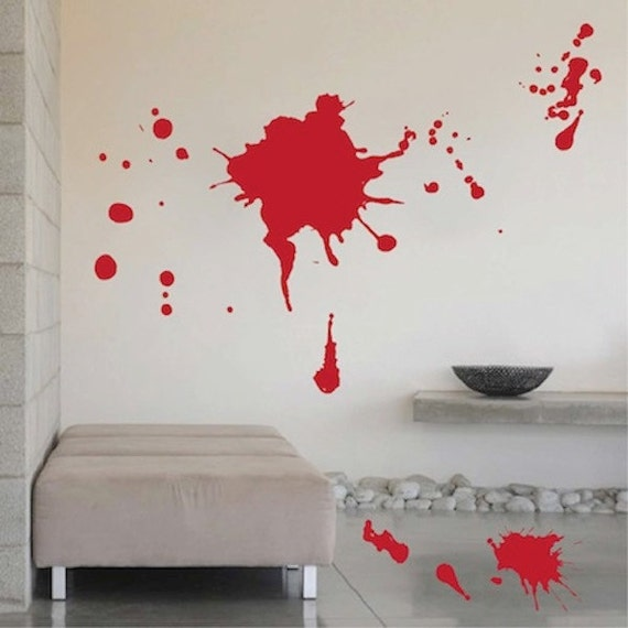 Blood splash halloween decal halloween blood wall sticker for Blood in blood out mural
