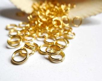 100 Gold Plated Double Loop Split Jump Rings 6mm - 8-14
