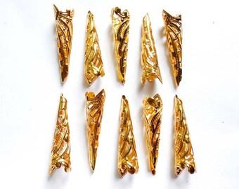 10 Gold Plated Bugle Filigree Bead Caps - 18-GC-5