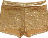 Gold Glitzy Sequined Dance Shorts with Glitzy Mystique Waistband. Sparkles Galore!