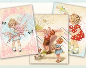 Cute vintage children on Greeting cards Gift tags Printable Downloads Digital Collage Sheet - PINK AND BLUE
