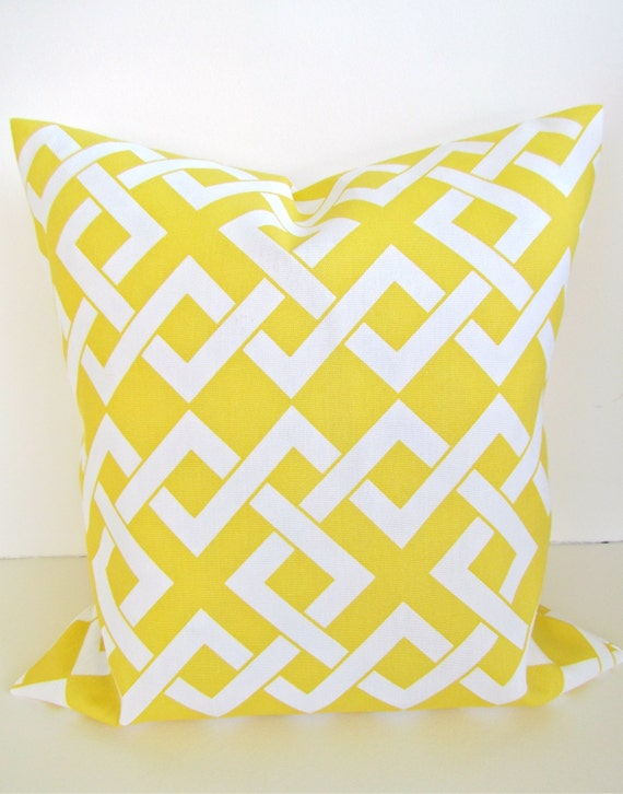 Items similar to Sale OUTDOOR Throw Pillows 16x16 YELLOW Throw Pillow Indoor Outdoor Pillow ...