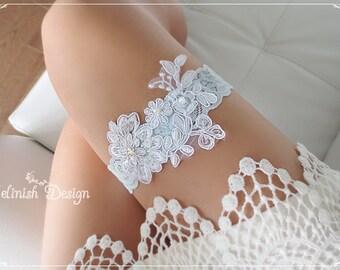 Flower Wedding Garter, Lace Garter, Baby Blue Bridal Garter,Something blue,Beaded Garter-G148blue