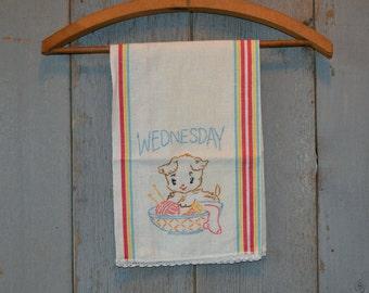 Vintage Embroidered Flour Sack Tea Towel