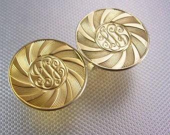 Large Coro Gold  cufflinks vintage script initials Monogrammed signet Pat # 2472858 Designer Fine Jewelry