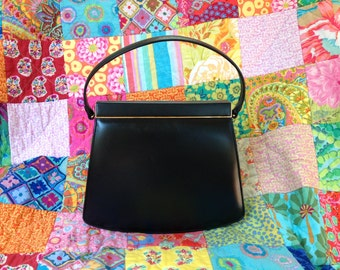 NETTIE ROSENSTEIN Black Leather Handbag
